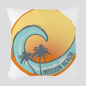 Mission Beach Sunset Crest Woven Throw Pillow