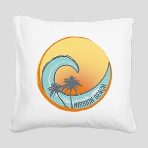 Mission Beach Sunset Crest Square Canvas Pillow