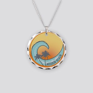 Mission Beach Sunset Crest Necklace Circle Charm