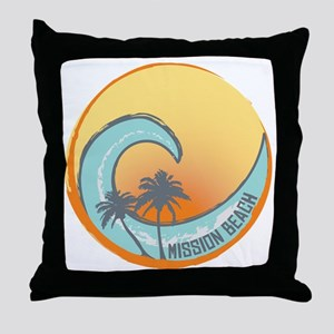 Mission Beach Sunset Crest Throw Pillow