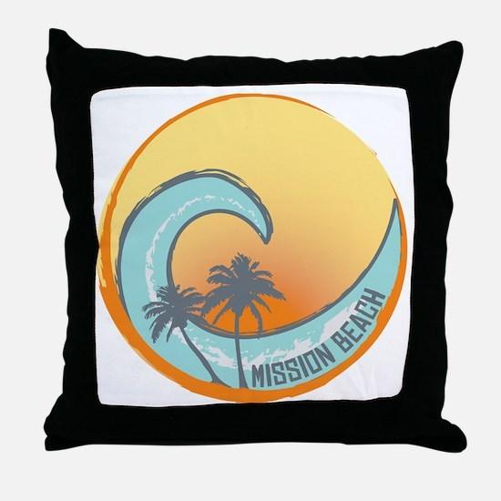 Mission Beach Sunset Crest Throw Pillow