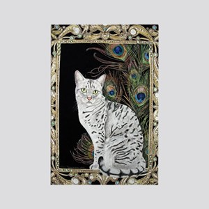 Silver Egyptian Mau Rectangle Magnet