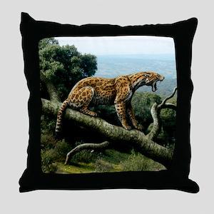Promegantereon sabre-tooth cat, artwo Throw Pillow