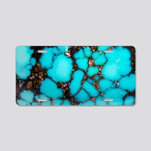 Polished turquoise cabochon Aluminum License Plate