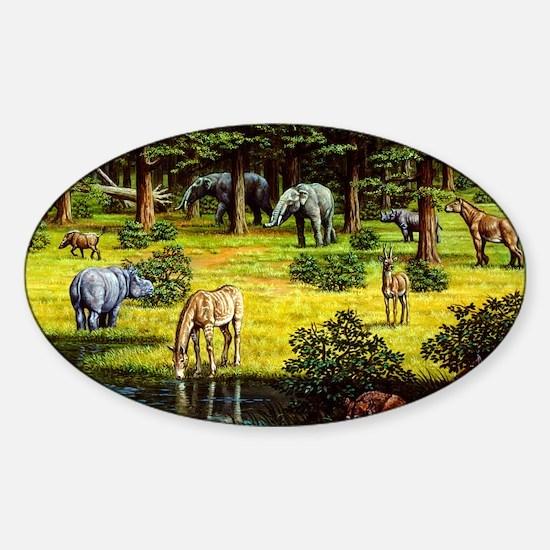 Prehistoric wildlife of the Miocene Sticker (Oval)