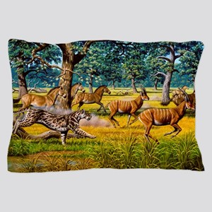 Sabre-toothed cat chasing prey Pillow Case