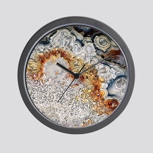 Polished 'crazy lace' agate Wall Clock
