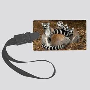 Ring-tailed lemur family Large Luggage Tag