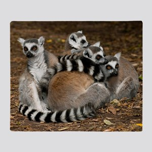 Ring-tailed lemur family Throw Blanket