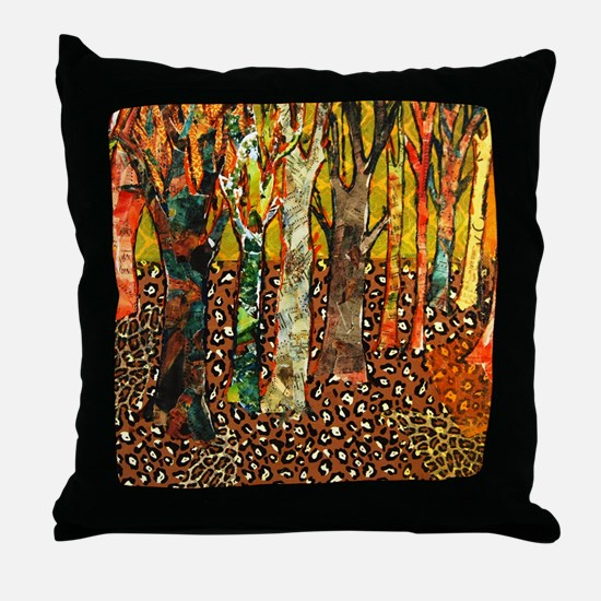 Funky Forest Tree Art Throw Pillow