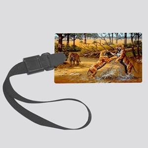 Sabre-toothed cats fighting Large Luggage Tag