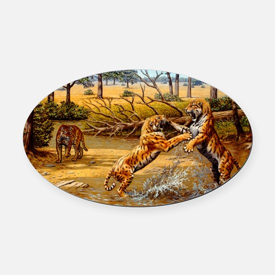 Sabre-toothed cats fighting Oval Car Magnet