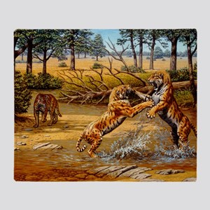 Sabre-toothed cats fighting Throw Blanket