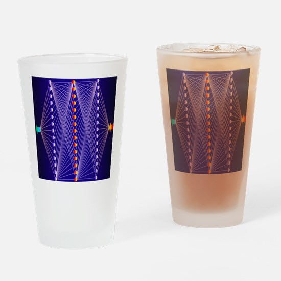 Illustration of neural net in compu Drinking Glass