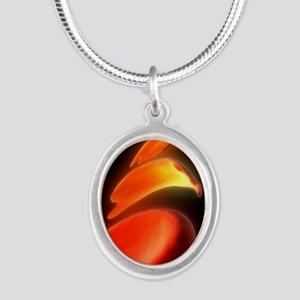 Sickle cell anaemia, artwork Silver Oval Necklace