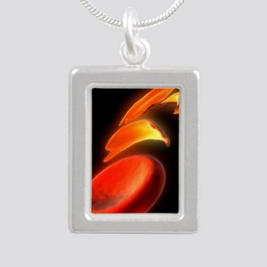 Sickle cell anaemia, art Silver Portrait Necklace