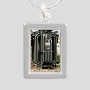 Industrial transformer Silver Portrait Necklace