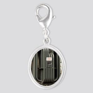 Industrial transformer Silver Oval Charm
