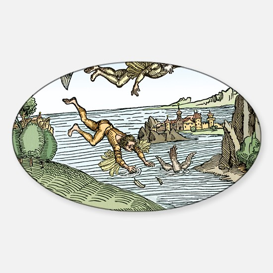 Icarus and Daedelus Sticker (Oval)