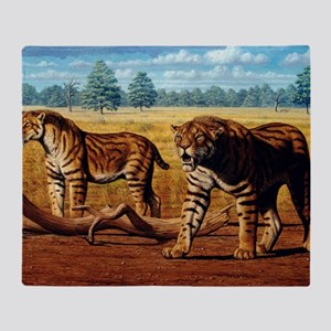 Sabre-toothed cats, artwork Throw Blanket