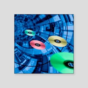 """Information superhighway, c Square Sticker 3"""" x 3"""""""
