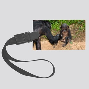 Infant bonobo ape and mother Large Luggage Tag