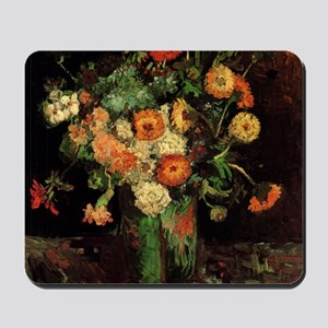 Vase with Zinnias and Geraniums Mousepad