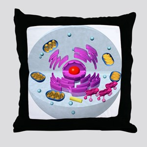 Animal cell structure, computer artwo Throw Pillow