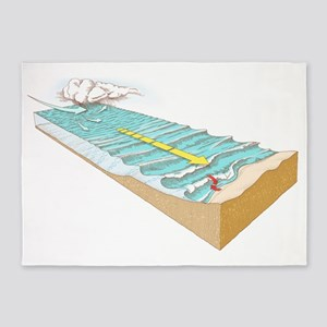 Storm wave formation, artwork 5'x7'Area Rug
