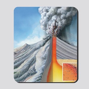 Stratovolcano, internal structure Mousepad