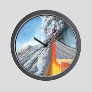 Stratovolcano, internal structure Wall Clock