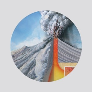 Stratovolcano, internal structure Round Ornament