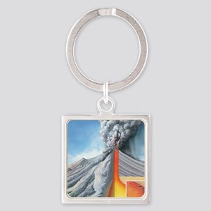 Stratovolcano, internal structure Square Keychain