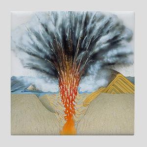 Surtseyan volcanic eruption Tile Coaster