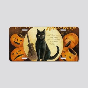 Vintage Merry Halloween Aluminum License Plate