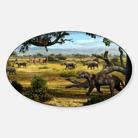 Wildlife of the Miocene era, artwor Sticker (Oval)