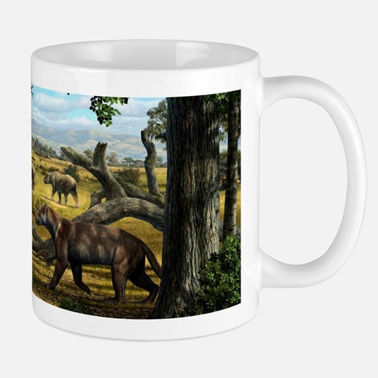 Wildlife of the Miocene era, artwork Mug
