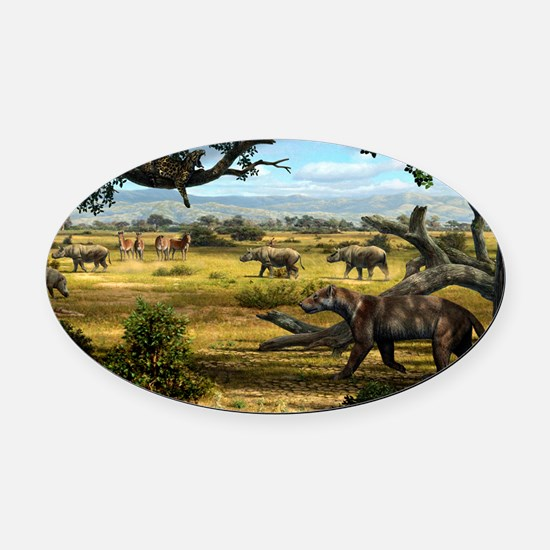 Wildlife of the Miocene era, artwo Oval Car Magnet