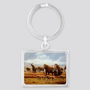Woolly mammoths Landscape Keychain