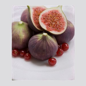 Whole and halved figs Throw Blanket