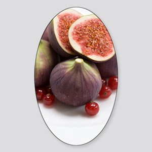 Whole and halved figs Sticker (Oval)