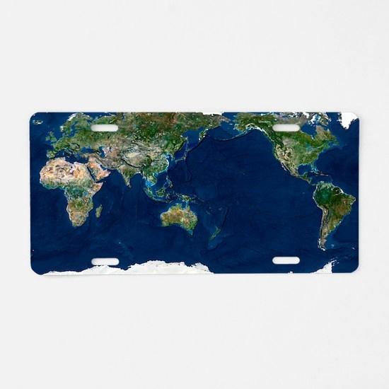 Whole Earth, satellite imag Aluminum License Plate