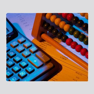Abacus and calculator Throw Blanket