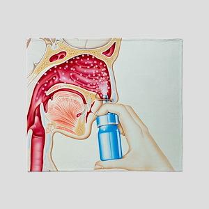 Artwork of nasal spray being used in Throw Blanket