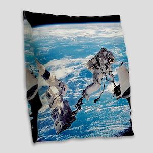 ISS space walk Burlap Throw Pillow