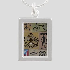 Taino Petroglyphs Silver Portrait Necklace