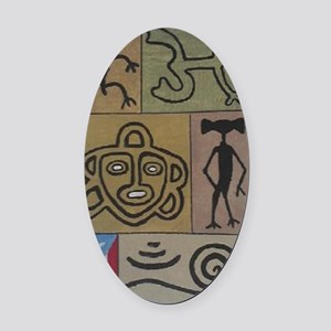 Taino Petroglyphs Oval Car Magnet