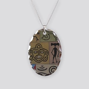 Taino Petroglyphs Necklace Oval Charm