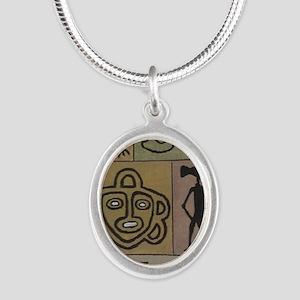 Taino Petroglyphs Silver Oval Necklace