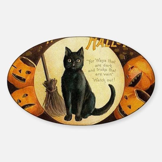 Vintage Merry Halloween Sticker (Oval)